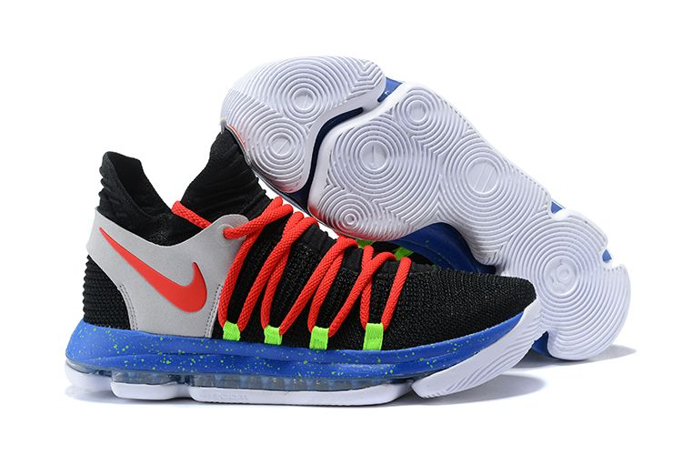 a6e8040fd9e 2017 Nike KD 10 Black Red-Cool Grey-Blue For Sale