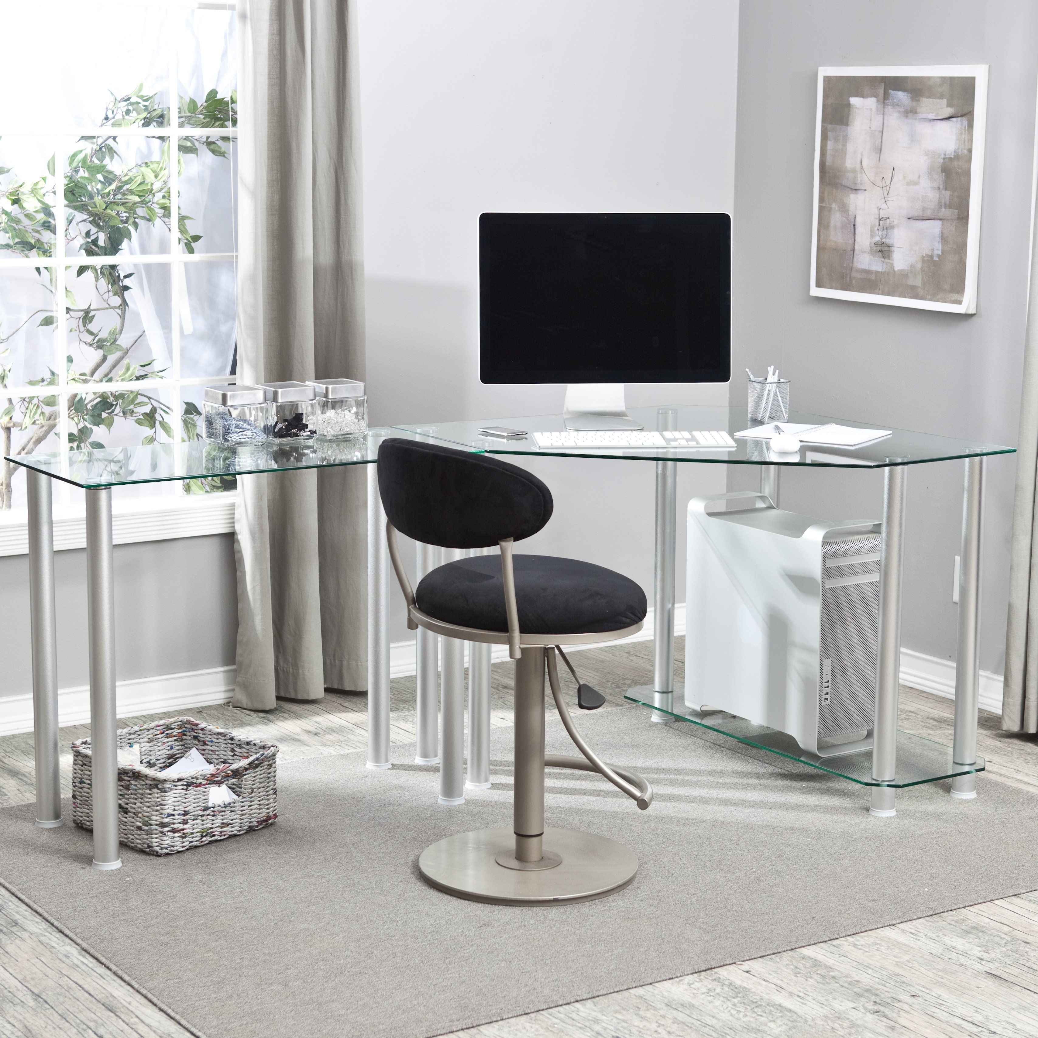 L Shaped Glass Computer Desk   Add Valuable Work Space While Taking  Advantage Of The Corner Space Of Your Office With The RTA Home And Office  Corner Glass ...