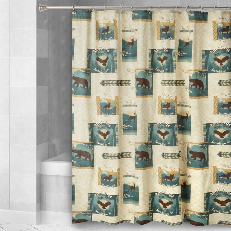 Wild Forest Lodge Fabric Shower Curtain Bear Moose Eagle Cabin Camp New Nantucket