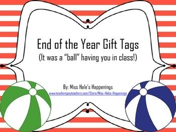 """*These end of the year gift tags can be attached to a miniature beach ball or one that is a size of your choice. *There is 8 different designs that are in 4 different colors. *The tags say: It was a """"ball"""" having you in class! I hope you have a great summer!  *Enjoy and check out my store for more products!   *Thanks for downloading!"""
