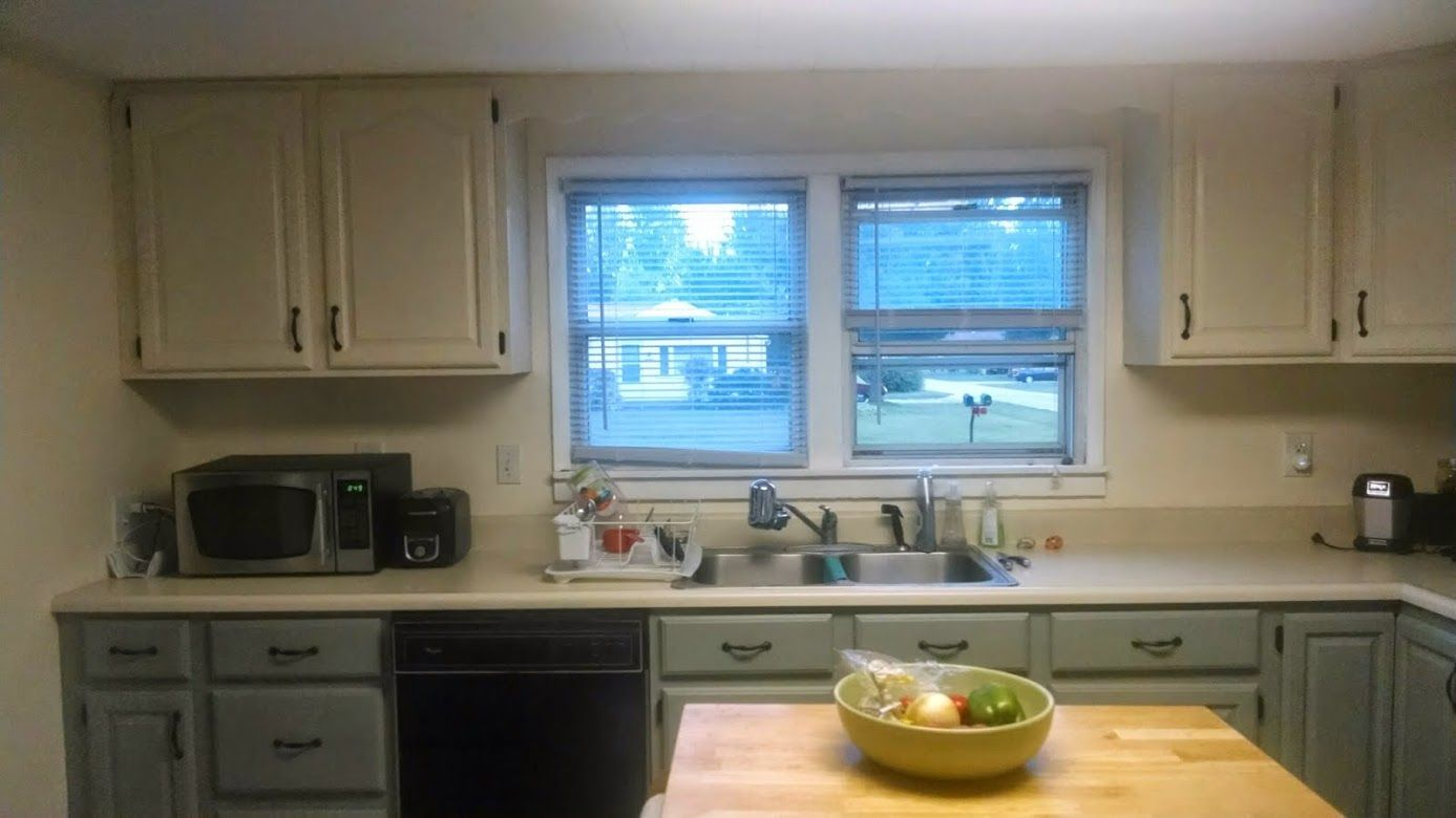 My two tone kitchen cabinet redo. I used the Rustoleum Cabinet ...