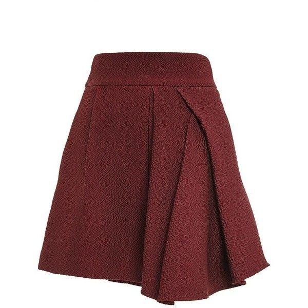 Tibi Grenache Corazon Jacquard Side Drape Short ($475) ❤ liked on Polyvore featuring tibi