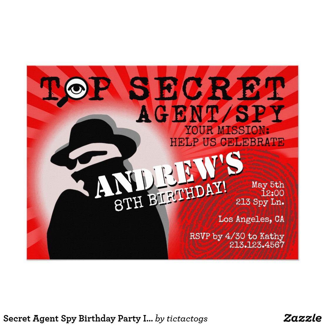 Secret Agent Spy Birthday Party Invitation   Boy\'s Birthday Party ...