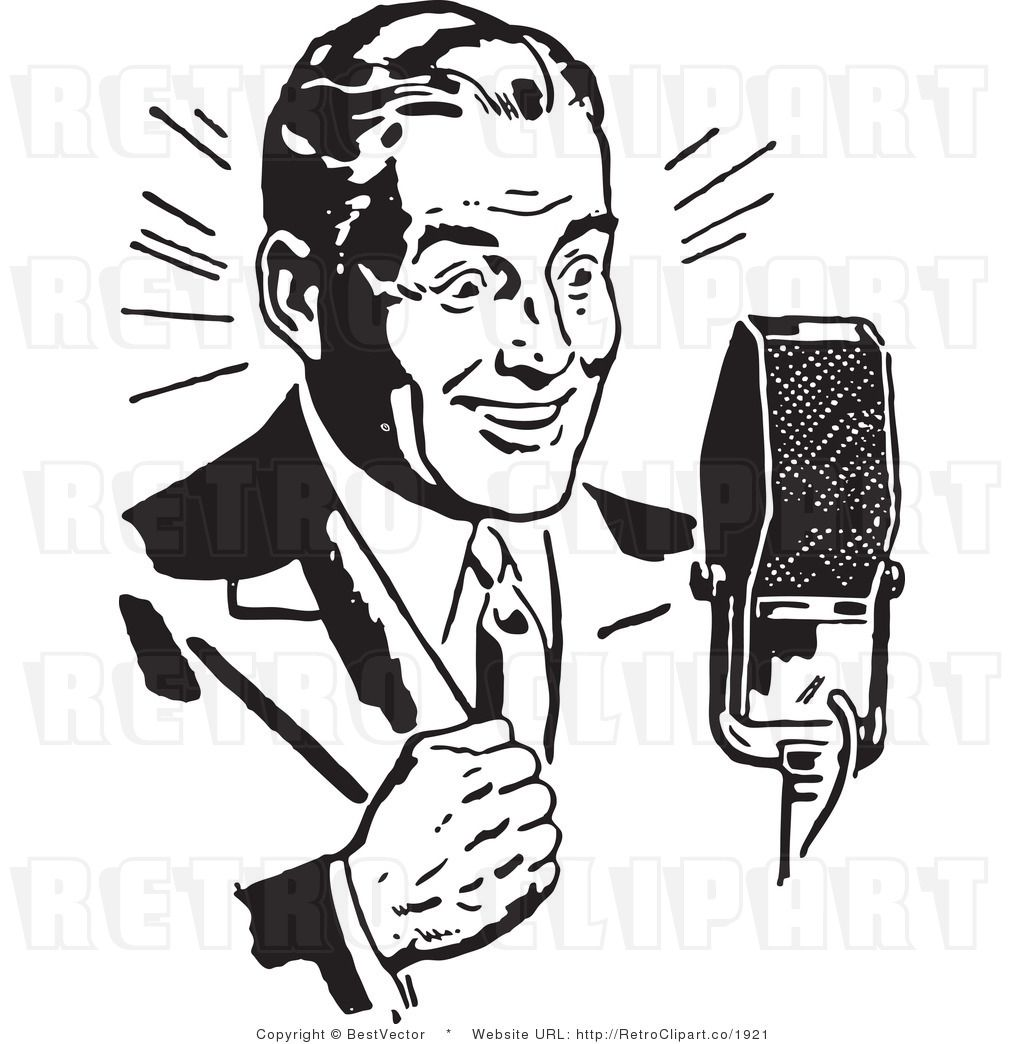Royalty Free Black and White Retro Vector Clip Art of a Radio Host ...