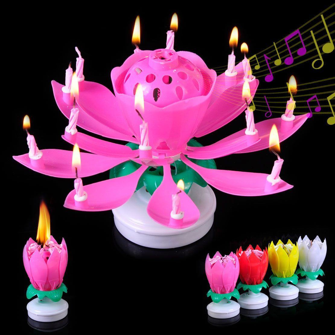 Music Lotus Candle Happy Birthday Rotating Lights Flower Amazing