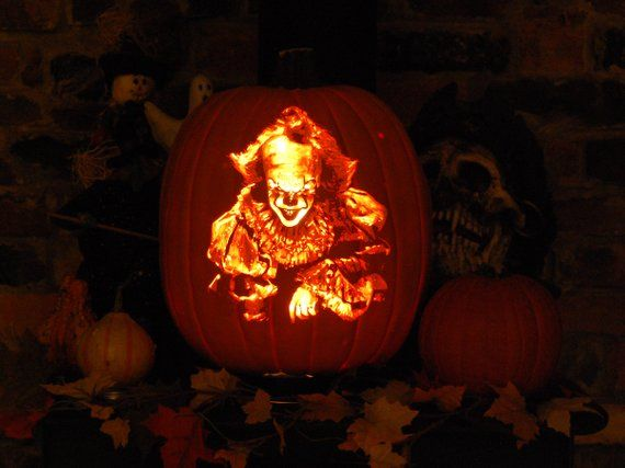 It Pennywise Custom Carved Pumpkin Light Included Hand Crafted