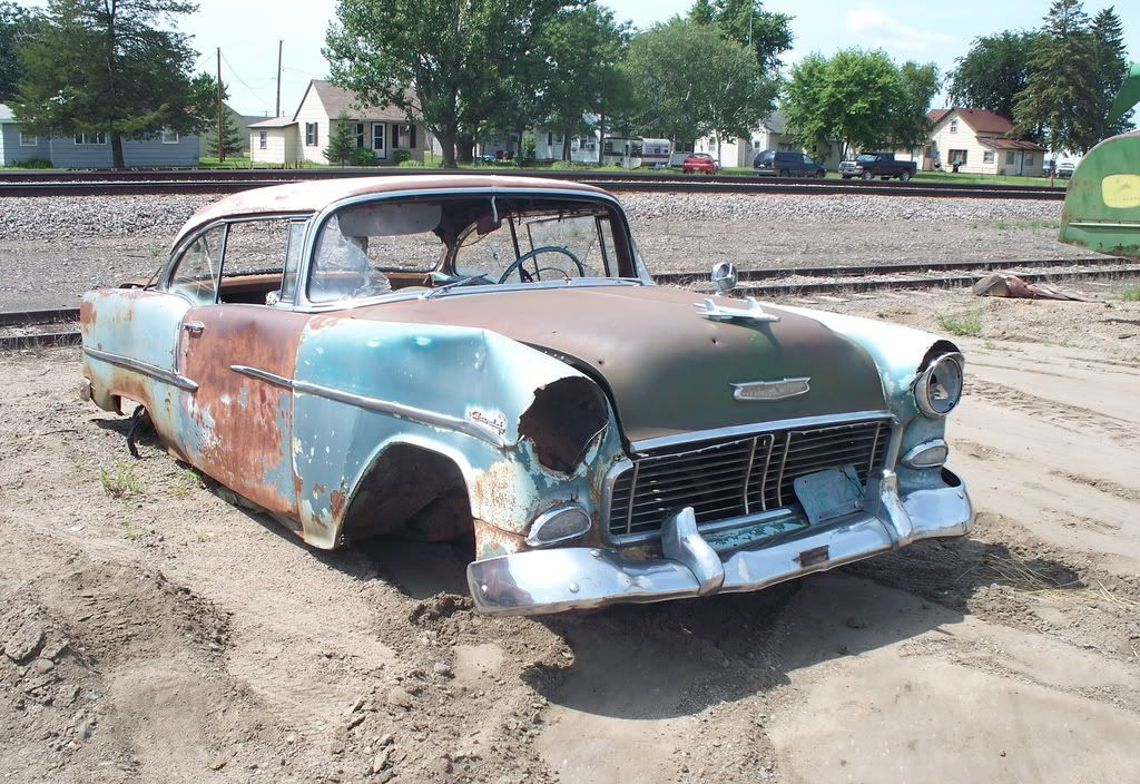 55 Chevy that just needs tires and a fender, maybe a battery? | old ...