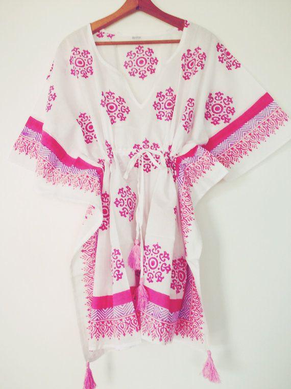 Pink Guava Hand Block Printed Short Kaftan Beach Cover Ups Resort Wear Tunic Dress 100 Percent Cotton Tel Details