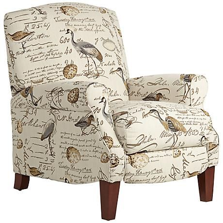 Birdsong Upholstered Fabric 3 Way Recliner Chair Country Decor