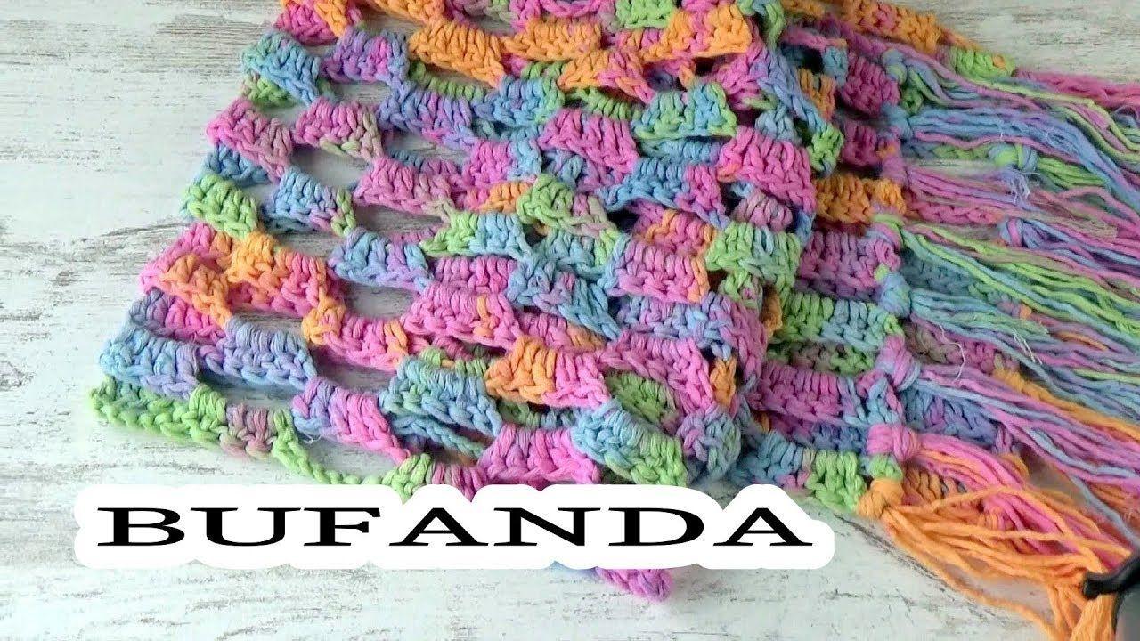 COMO HACER UNA BUFANDA A CROCHET FACIL | GANCHILLO FACIL | Crochet ...