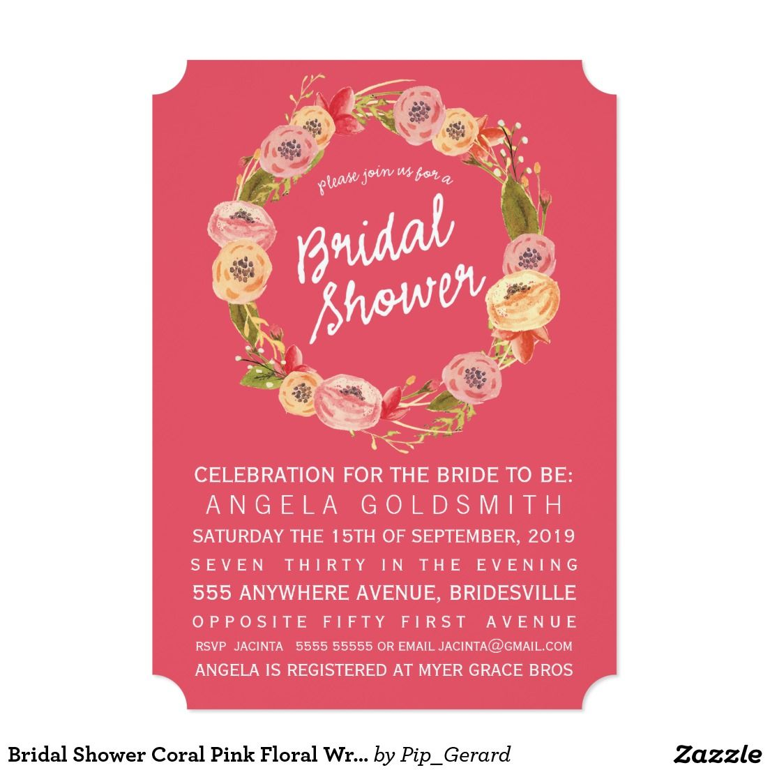 Bridal Shower Coral Pink Floral Wreath Invite | WEDDING: WREATH ...