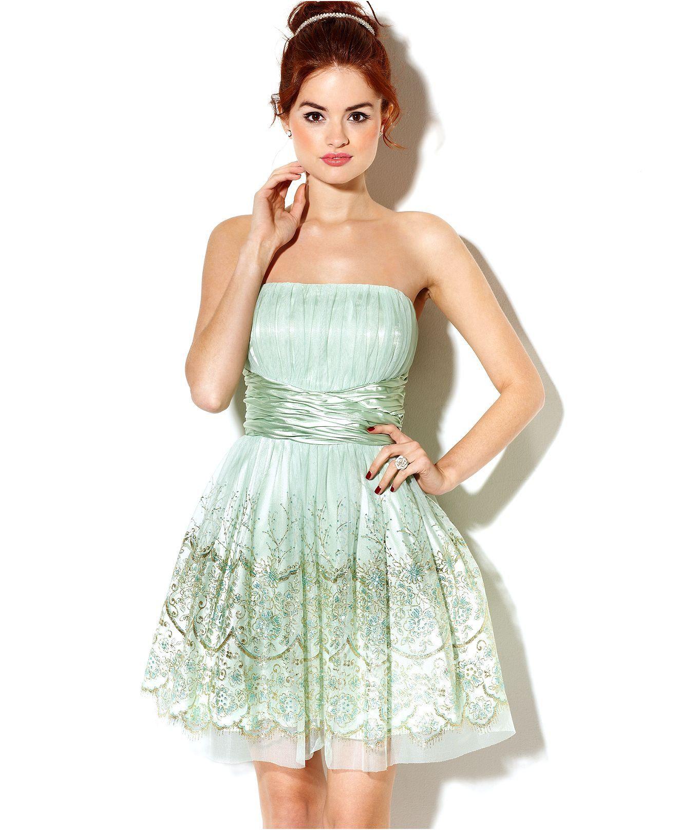 Macyus dresses dress strapless glitter aline juniors