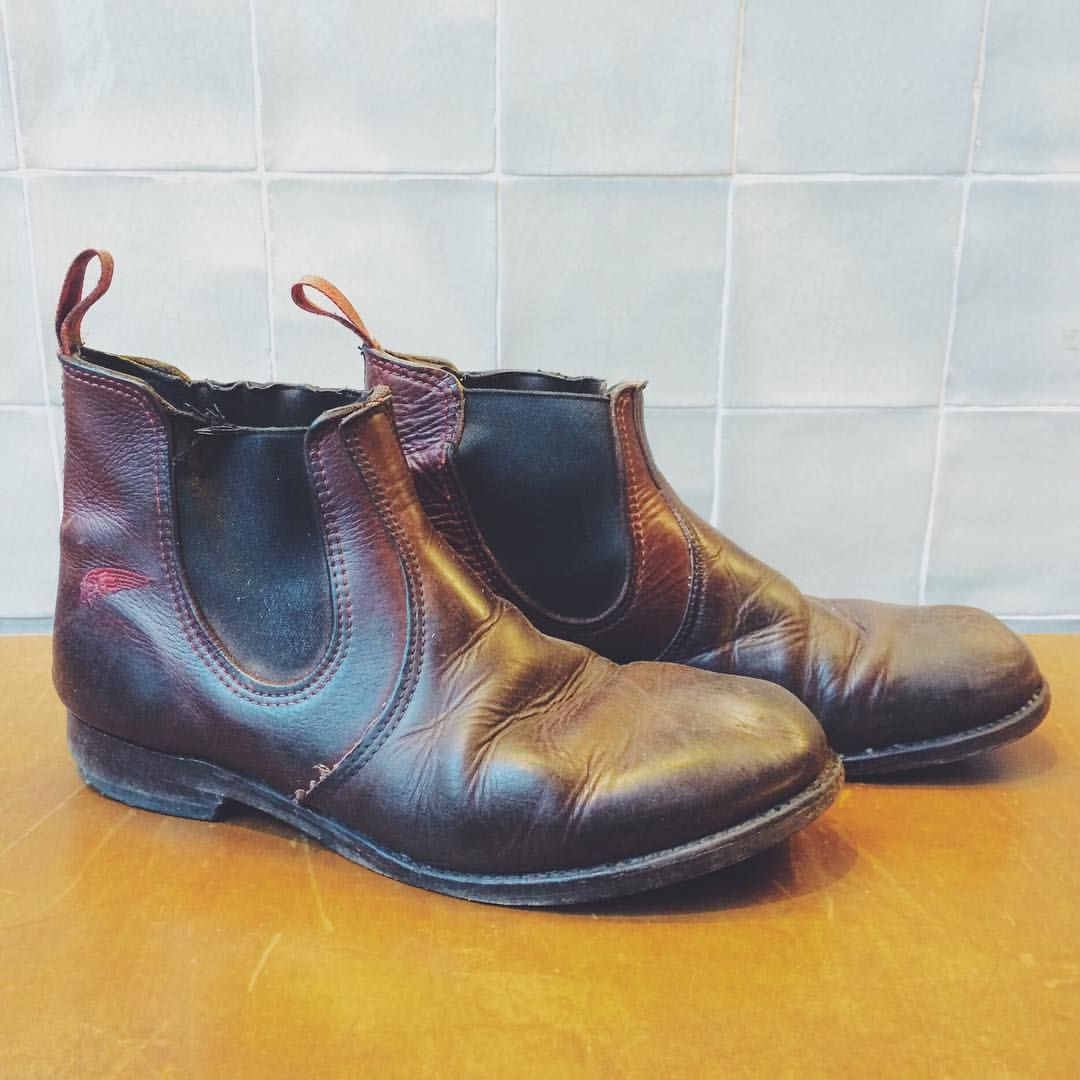 f5b782ce8b7 Ohh yeah baby, these Red Wing Shoes 2917 Chelsea Rancher in Briar Oil Slick  are ready for a resole! We love the way these are broken in!