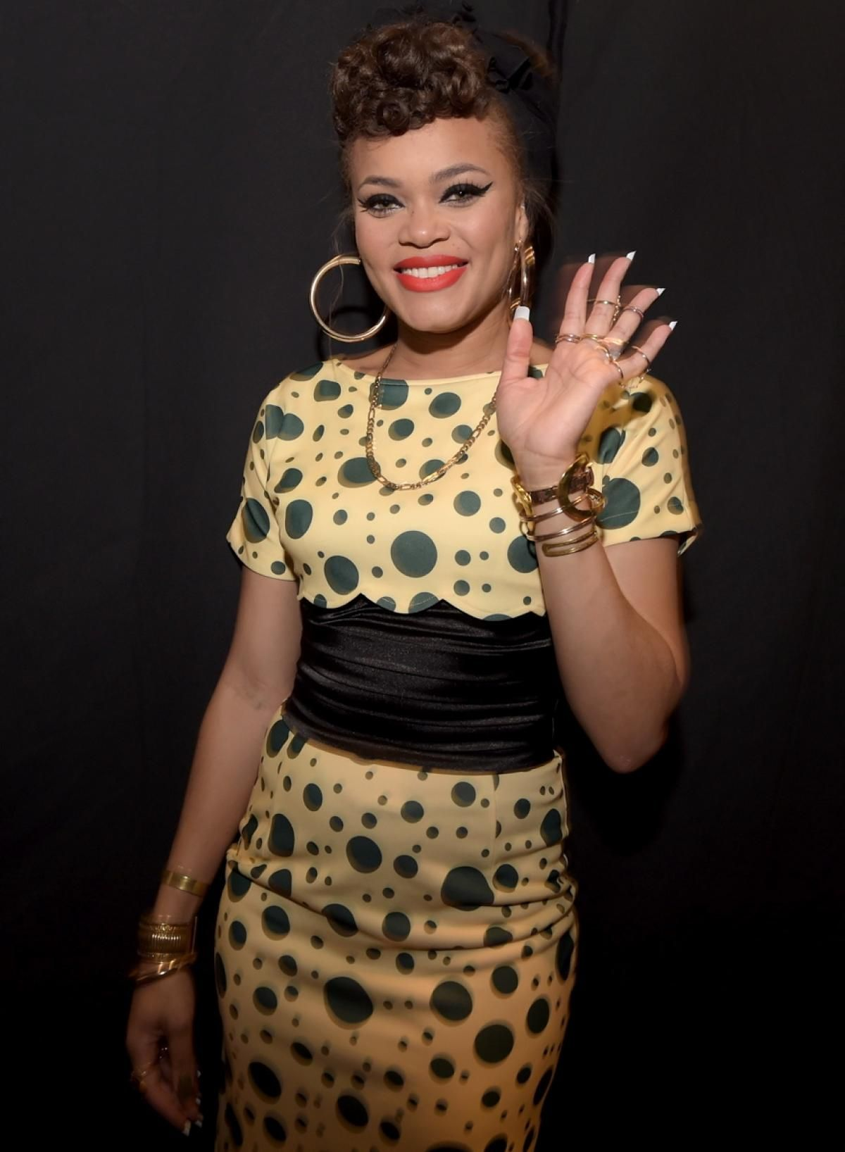 """Andra Day smiled for the cameras backstage after performing her hit song """"Rise Up,"""" from the upcoming album """"Cheers to the Fall,"""" during the show."""