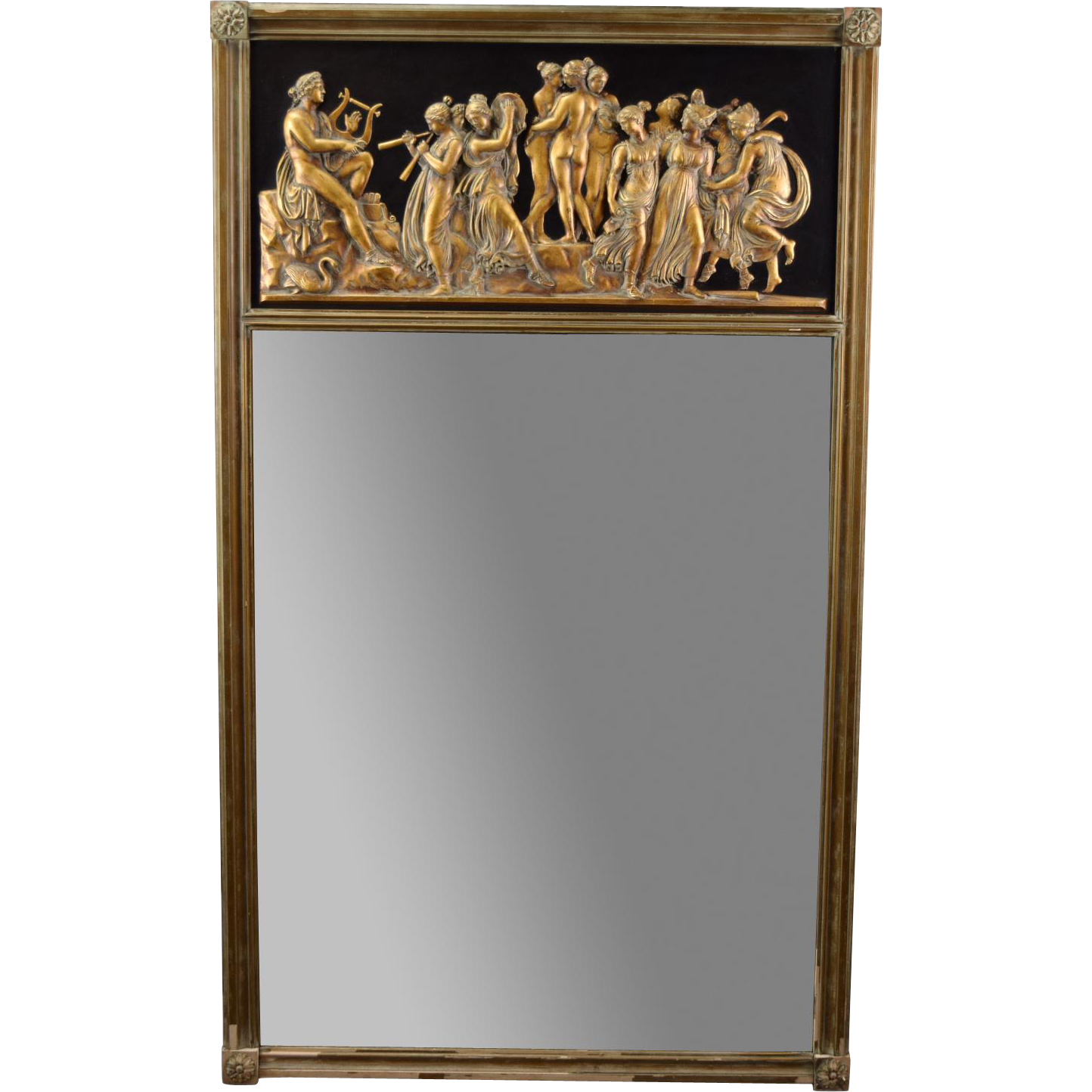 Vintage Gilt Wood Trumeau Mirror Neo-Classical Scenes Three Graces ...