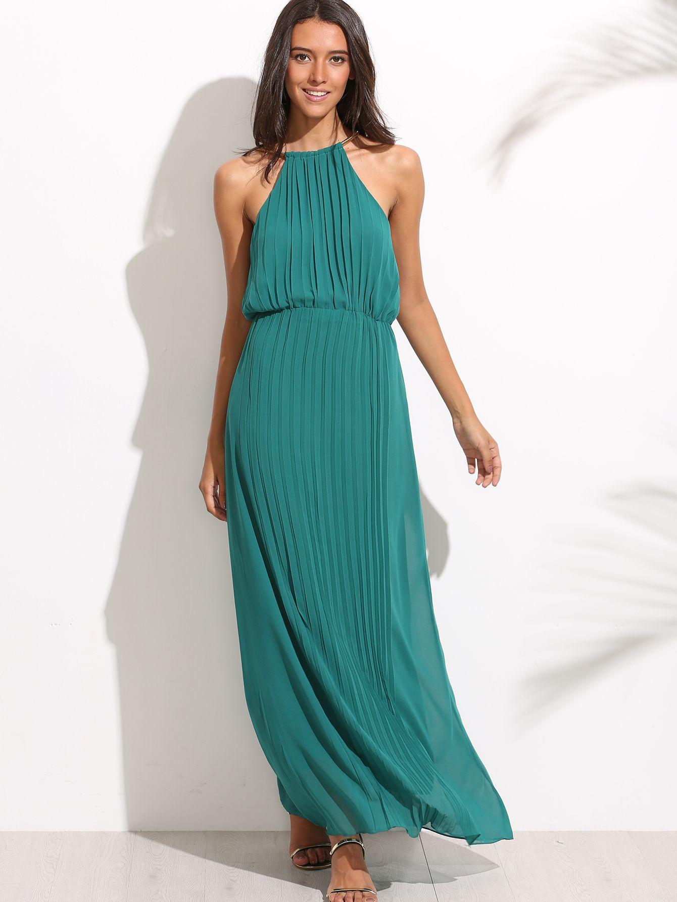 Vestido halter corte maxi - verde-Spanish SheIn(Sheinside) | Ropa ...