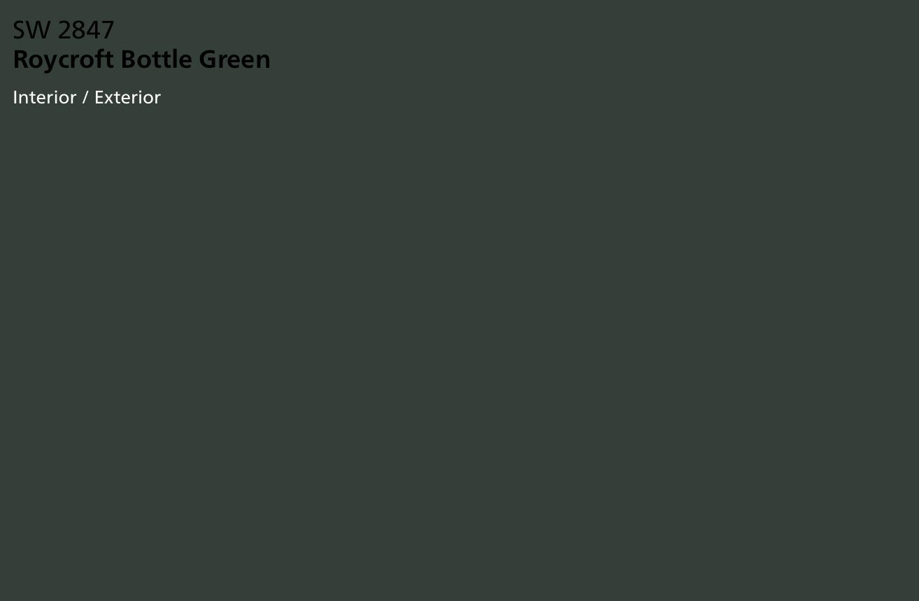 Sw 2847 Roycroft Bottle Green Front Door Green Exterior Paints House Paint Exterior Paint Colors For Home