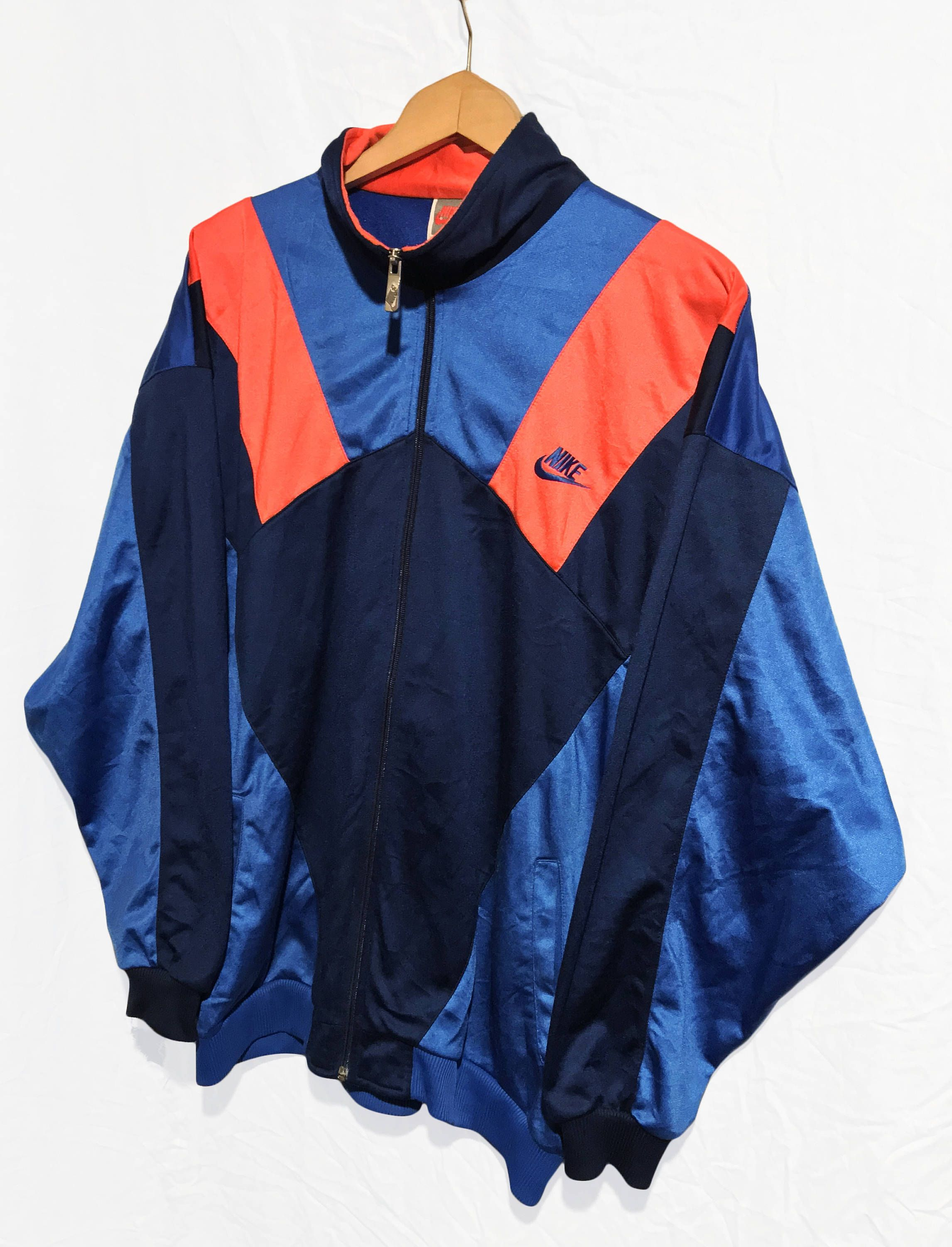 Vintage Nike Swoosh Gray Tag Windbreaker Tracksuit Top jacket Multicolor  Blue Navy Blue Orange Neon Size L by VapeoVintage on Etsy 4cbf4ed7e