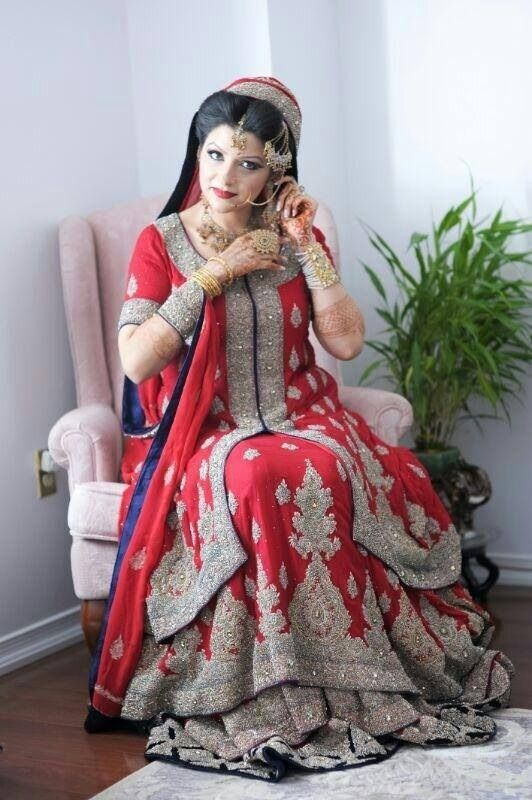 Red Gold Purple Pakistani Lehenga