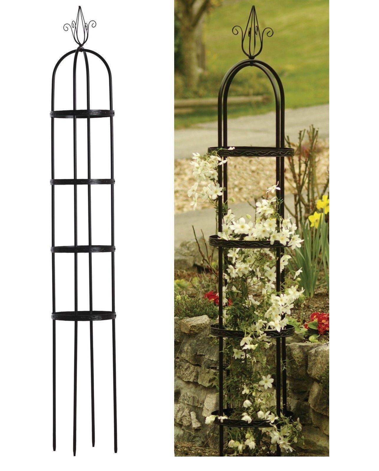 Garden Metal Obelisk Trellis Embossed Rings Climbing