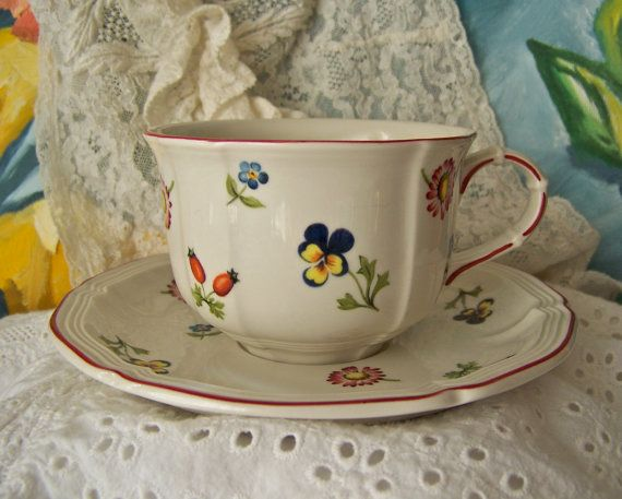 Teacup and Saucer Villeroy and Boch by cynthiasattic on Etsy, $24.00