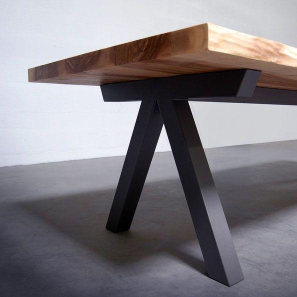 Artmeta Aubier Table Repas Bois Metal Table Bois Massif Table Bois Table Salle A Manger