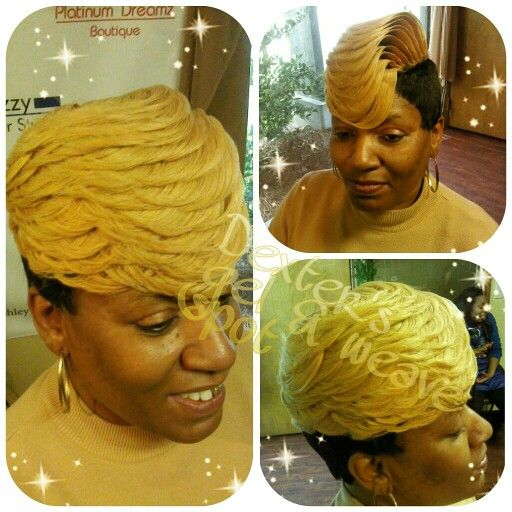 Blonde Quickweave stacked C-Curls #27piecehairstyles