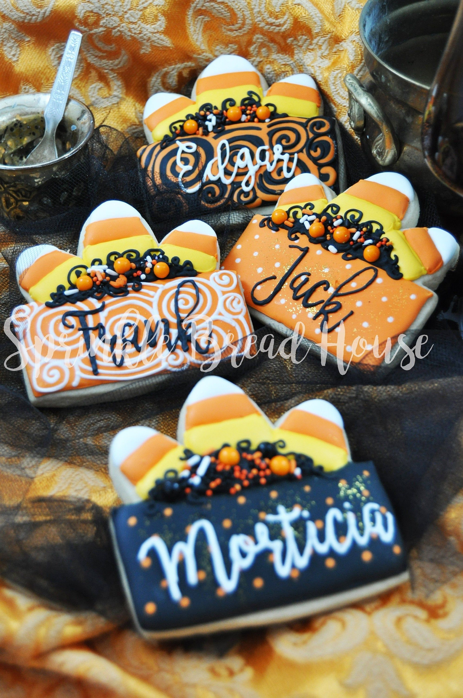 Custom Candy Corn Place card cookies halloween pumpkin