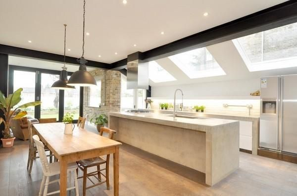 Linear Kitchen Layout With Island And Dining Table In The Middle However Is 1m Wider Than Our Kitchen Layout Kitchen Layout Plans Kitchen Layouts With Island