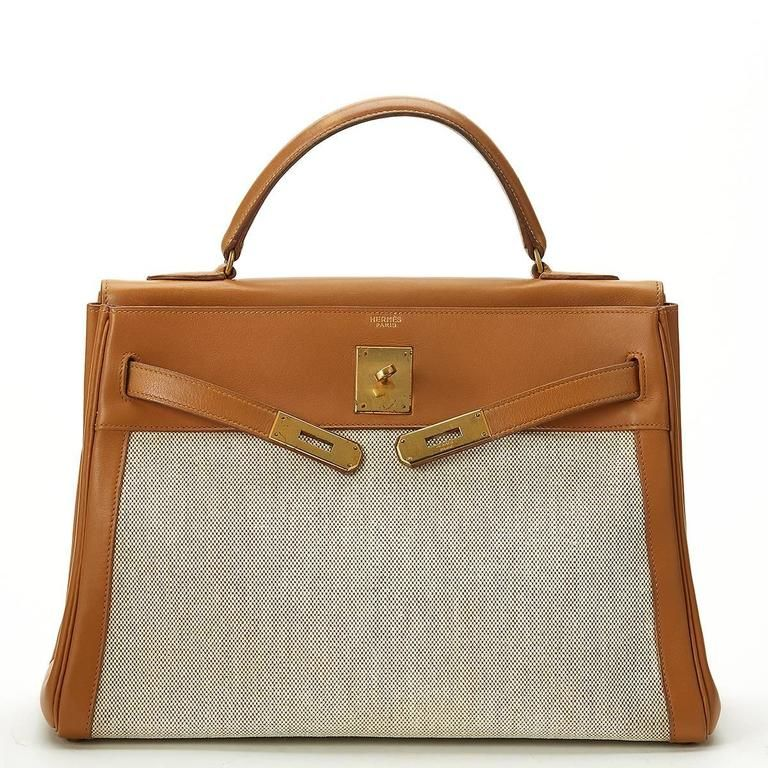 67a9f7bb23e0 1950s Hermes Tan Leather and Canvas Vintage Kelly Retourne 32 10 ...