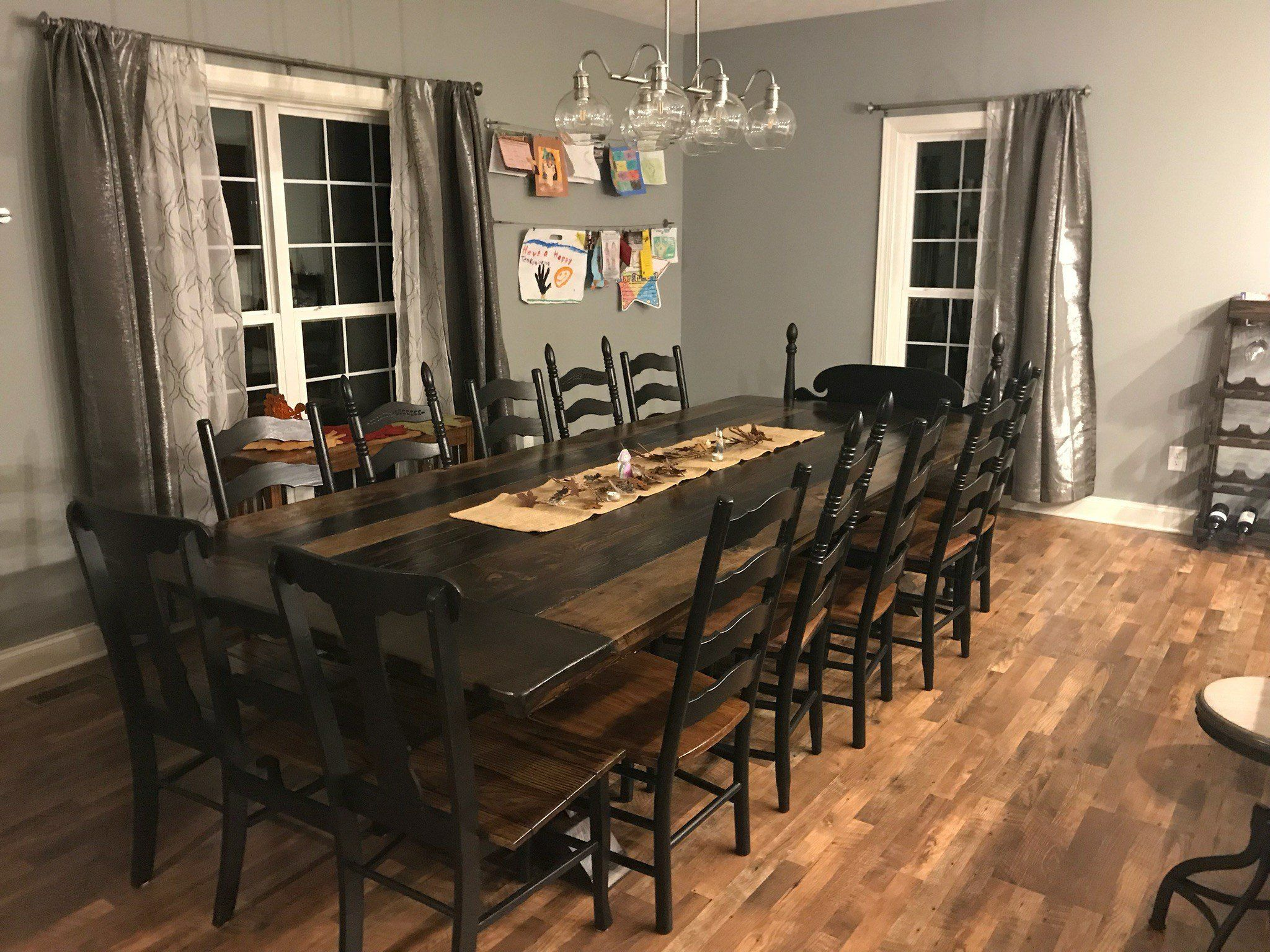 Farmhouse Table And Chairs 11 Ft Long With Seating For 14 People