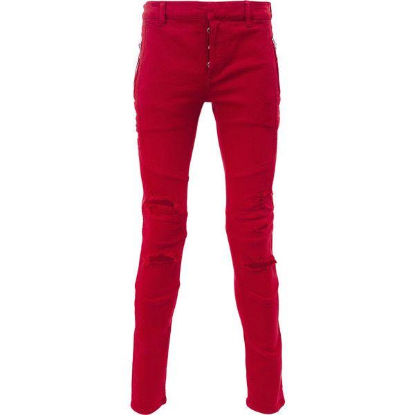 ripped skinny jeans - Red Balmain O3skR