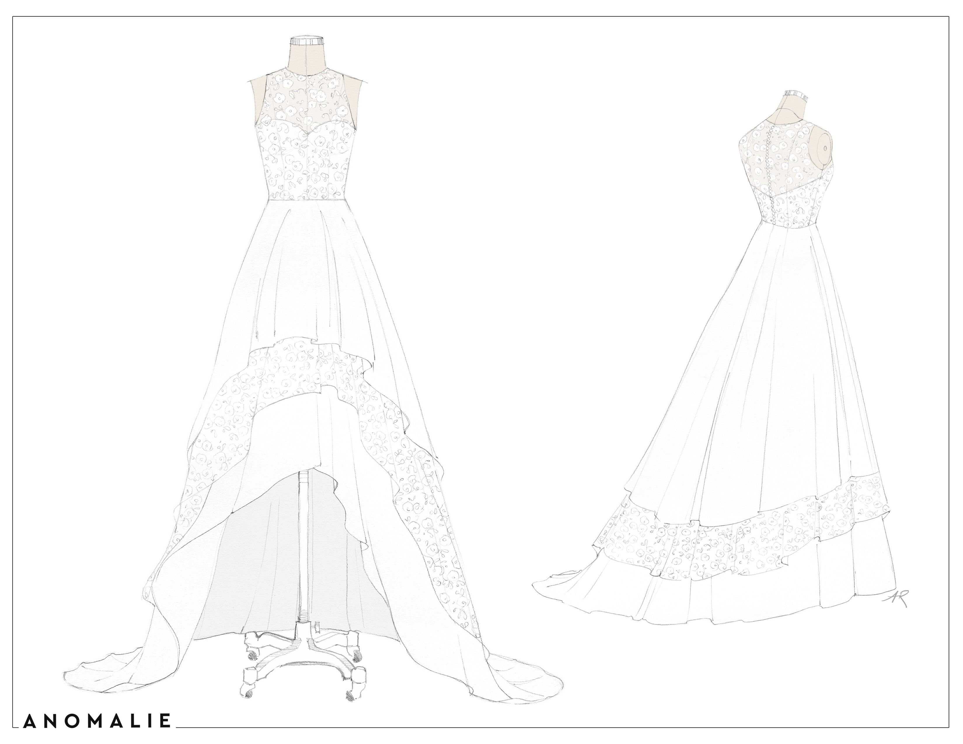 High Low Hem Wedding Dress Anomalie Wedding Dress Sketches Tiered Wedding Dress Dress Sketches