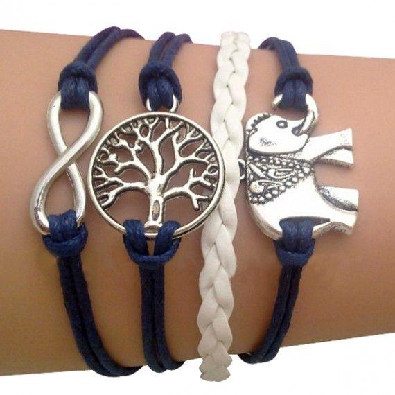 Blue Elephant and Tree of Life Arm Party Bracelet #Arm #Bracelet #Fashion 9thelm.com