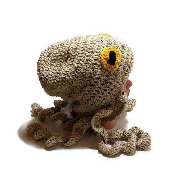 Octopus Hat, Octopus Costume, Tan Octopus Beanie, Slouchy Octopus ...
