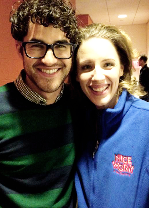 "Darren Criss & Jessie Mueller backstage at ""Beautiful: The Carole King Musical"" on Broadway (December 26, 2014)"