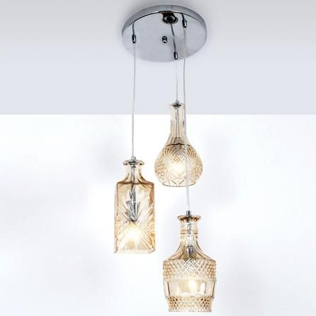 3 glass decanter cluster ceiling light fitting dunelm