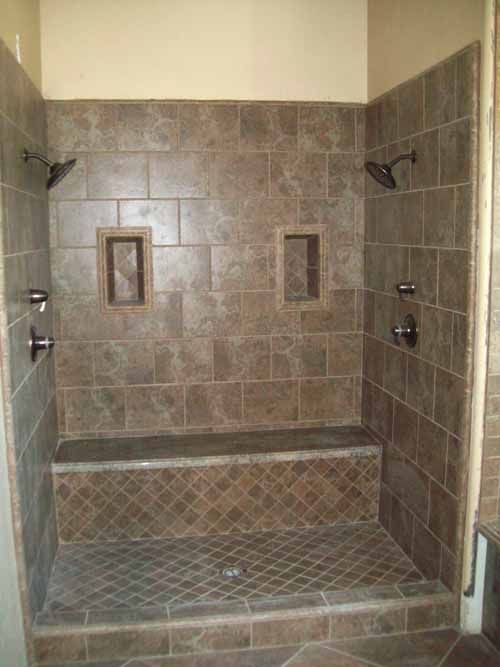 Like the design not the tile double shower heads with a seat--love ...