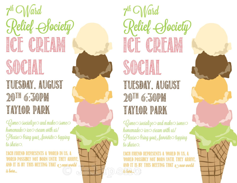 ice cream social flyer invitation digital custom by
