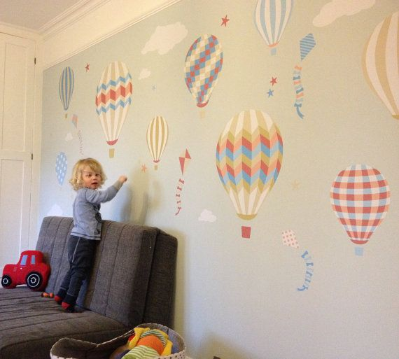 Attractive Hot Air Balloon Decal Feat. Kites, Stars And Clouds. Baby Wall Stickers  Nursery Room Decor, Gender Neutral, Coral And Blue, Summer Trends