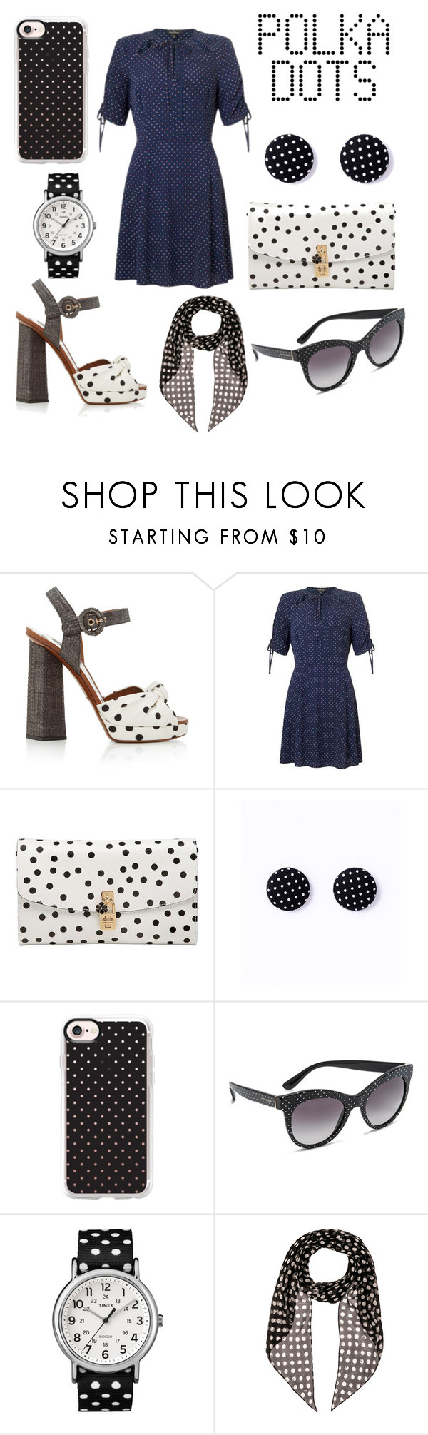 """""""Polka Dots"""" by andreacritina ❤ liked on Polyvore featuring Dolce&Gabbana, Casetify, Timex and Yves Saint Laurent"""