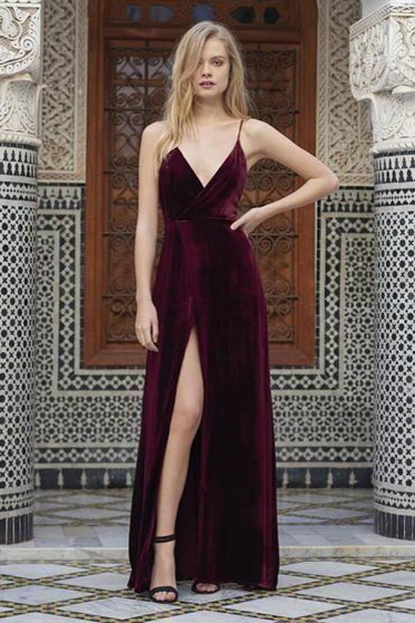 ed495e2bae94 Spaghetti Straps Velvet V-neck Slit long Prom Dresses