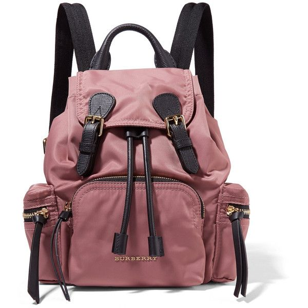 Leather-trimmed Gabardine Backpack - Pink Burberry McdYcZlwz