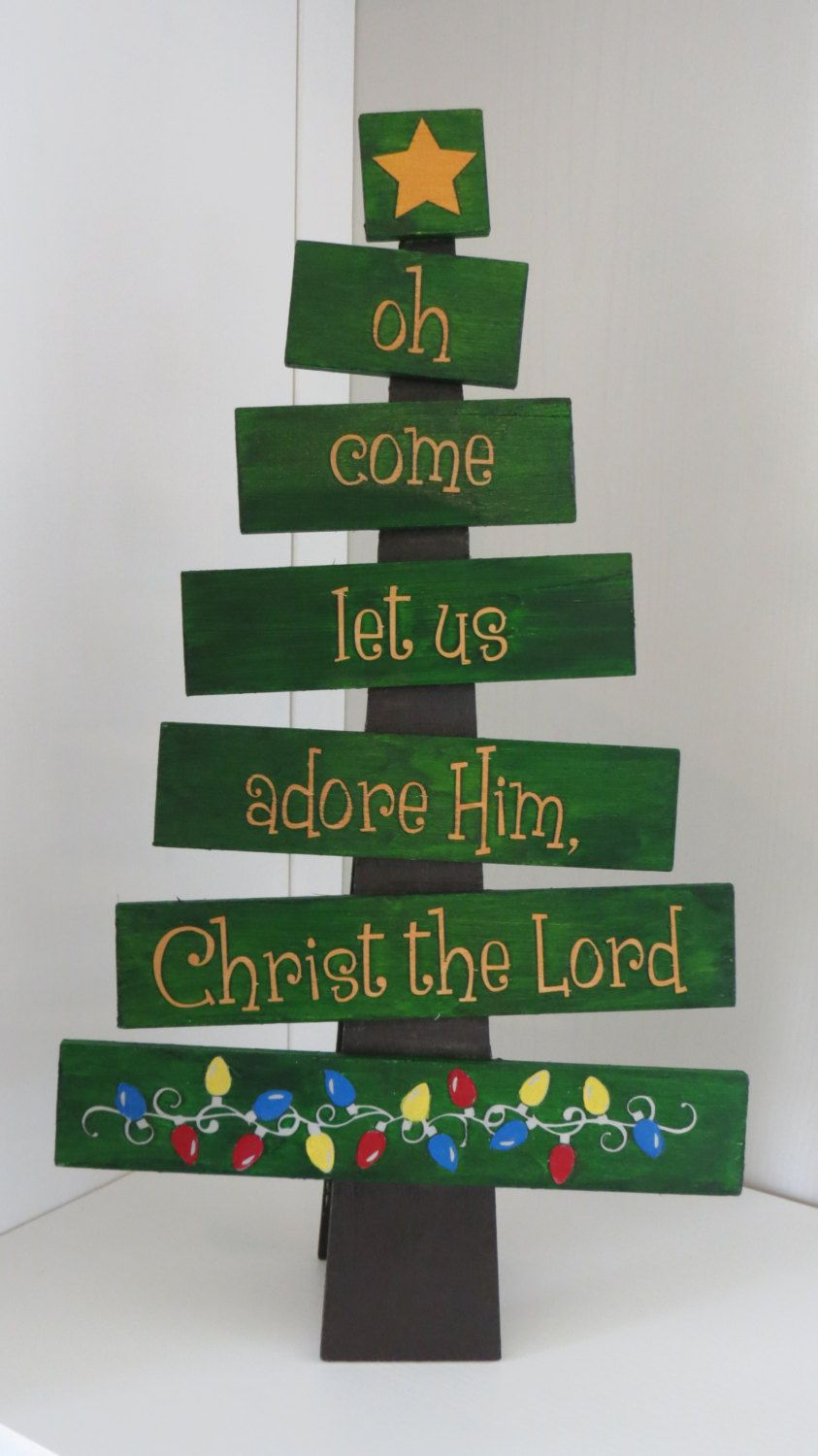 Wooden Christmas Tree - Come Let Us Adore Him by MaxineAndAnnie on Etsy