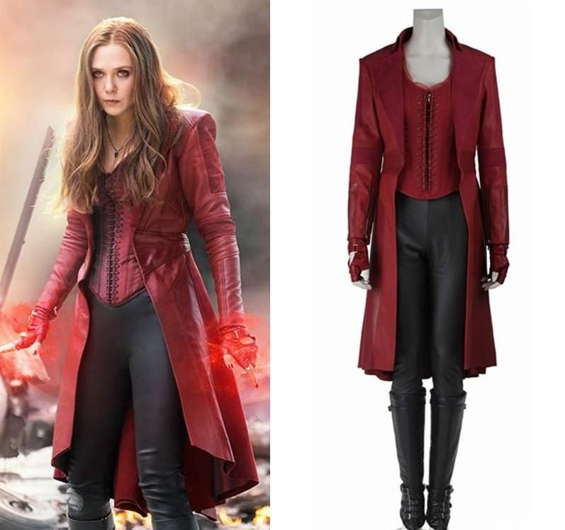 The Avengers Captain America Scarlet Witch Cosplay Costume Suit Halloweeen