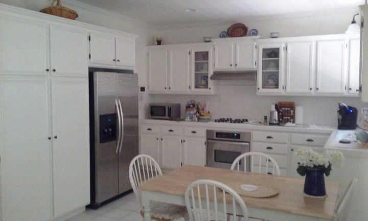 Cape Cod Style Kitchen Remodel Refinished Cabinets In Off White Modified Cabinet Doors Into Glass Refinishing Cabinets Kitchen Styling Kitchen Aid Appliances