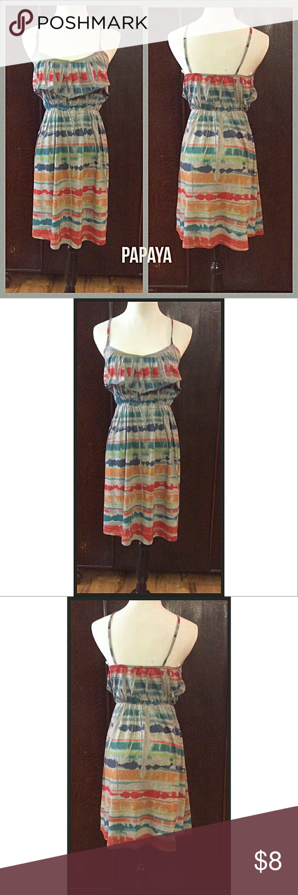 "NWOT Ruffle Bodice Tie-Dye Festival Dress NWOT Papaya Ruffle Bodice Tie-Dye Festival Spaghetti Strap Dress. NEVER WORN.  Length 30"".  Material 65% Polyester 35% Rayon.  *See Attached Size Chart* - juniors size large Boutique Dresses Mini"