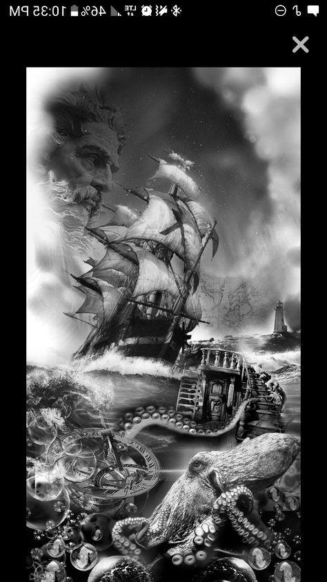 Nautical Tattoo Poseidon And Ship: My Idea For My Right Arm Sleeve. Poseidon God Of The Sea