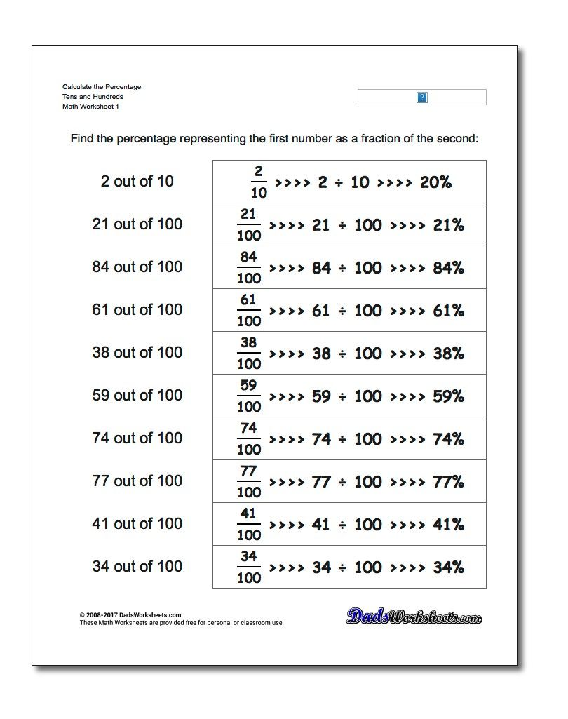 Percentage Worksheets With These Worksheets Students Will Practice How To Turn A Convert Percentages Math Free Printable Math Worksheets Free Math Worksheets