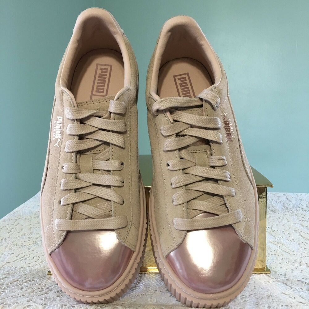09818aea8368 PUMA Womens Valentines Day Rose Gold Toe Suede Platform Sneaker Size 8 New   PUMA  Tennis